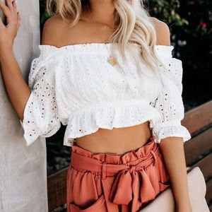 Vici Collection white crop/tube top